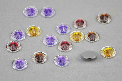 10 x Herz 12 mm mit Silberplatte, vers. Farben