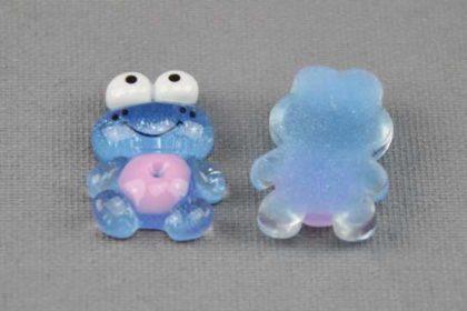 2 x Resin-Frosch 16 x 24 mm, blau