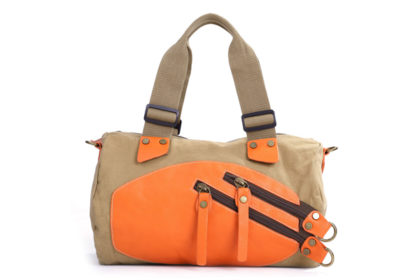 Eshow Damen Schultertasche 38x10x35cm, braun-orange