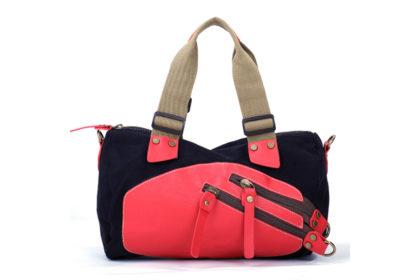 Eshow Damen Schultertasche 38x10x35cm, schwarz-pink