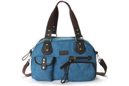 Eshow Damen Schultertasche 38x11.5x25cm, blau