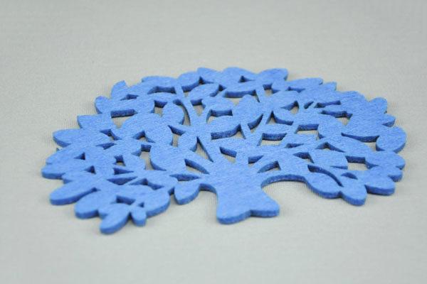 Filz-Tassen-Untersteller BAUM 15 x 10 cm, dunkelblau