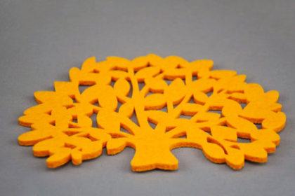 Filz-Tassen-Untersteller BAUM 15 x 10 cm, orange