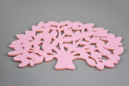 Filz-Tassen-Untersteller BAUM 15 x 10 cm, rosa