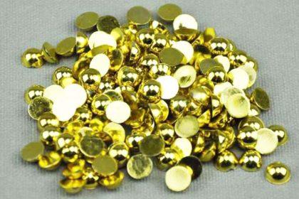 100 Stück Halb-Perlen 6 mm, gold