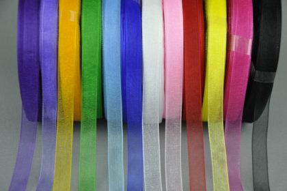 Organza-Band Satin, 9 mm breit, 1m, verschiedene Farben