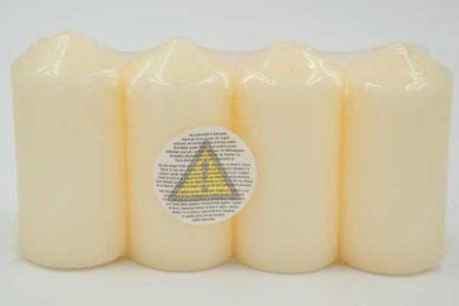 4er-Set Zylinder-Kerzen 100 x 50mm, beige