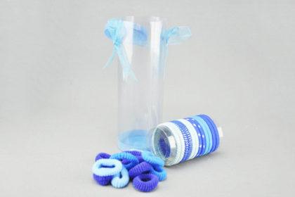 Box mit 22 Haargummis, blau