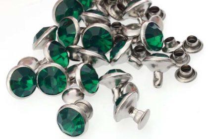 5 x Metall-Knöpfe mit Acryl-Kristall 9mm, dunkelgrün