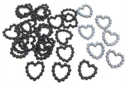 20 x Plastik-Herz 6mm, schwarz