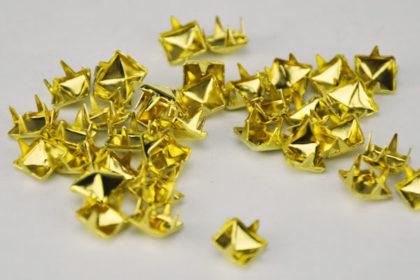 10 x Pyramiden-Spikes 6 x 6mm, gold