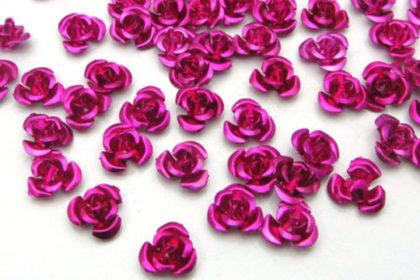 10 x Aluminium Rosen 8mm, pink
