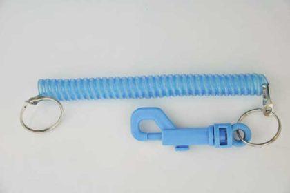 Schlüsselband ausziehbar mit Verschluss, blau