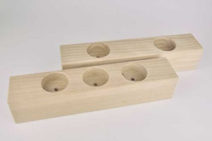 2er-Set Holz-Blöcke für Teelichtern, Querformat