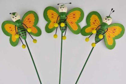 3er-Set Blumentopf-Schmetterling, gelb-grün