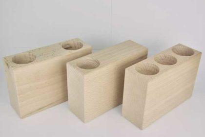 3er-Set Holz-Blöcke für Teelichter im Hochformat