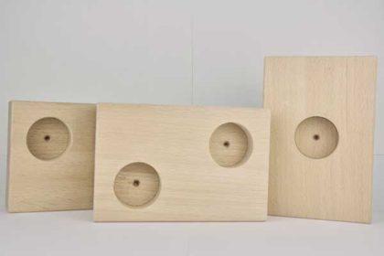 3er-Set Holz-Blöcke für Teelichter im Querformat