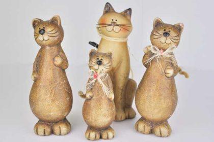 4-teiliges Set Katzenfamilie