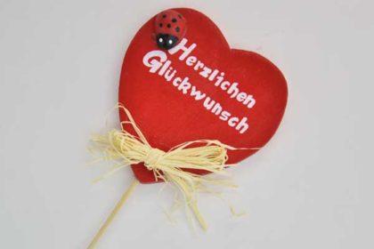 Blumentopf-Holz-Herz °Herzlichen Glückwunsch°