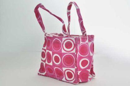 Deko-Tasche 11 x 9 x 6 cm, pink-rosa-weiss