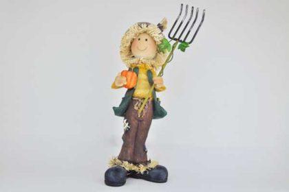 Figur mit Kürbis und Mistgabel, 27 x 8.5 x 8 cm