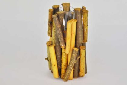 Holzgestell mit Reagenzglas, 10 x 5.5 x 5.5 cm