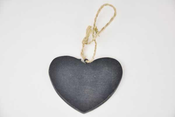 Holzherz schwarz an Schnur, 7.5 x 6 x 0.4 cm