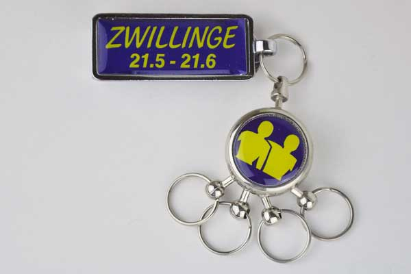 """Schlüsselanhänger mit Gürtelclip Sternzeichen """"Zwillinge"""""""