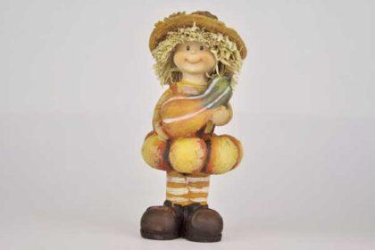 Strohfigur mit Kürbisrock und Kürbis, 10 x 4.5 x 4.5 cm