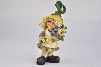 Strohfigur mit Rock und Blumen, 10.5 x 4.5 x 4 cm