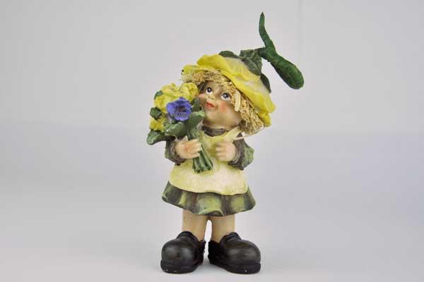 Strohfigur mit Rock und Blumen, 13 x 7 x 5 cm