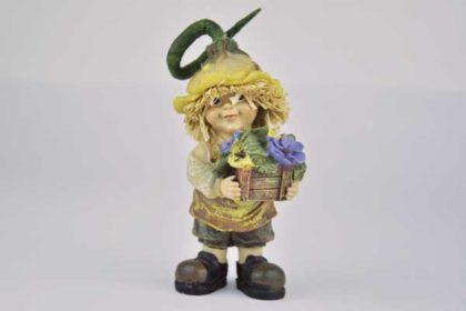Strohfigur mit Schürze und Blumenkasten, 10 x 4 x 4.5 cm