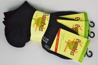 Bambus Sneakers-Socke 39-42, schwarz - 3 Stück