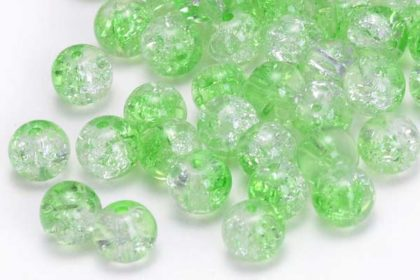20 x Acryl Beads/Kugeln 4mm, hellgrün-weiss