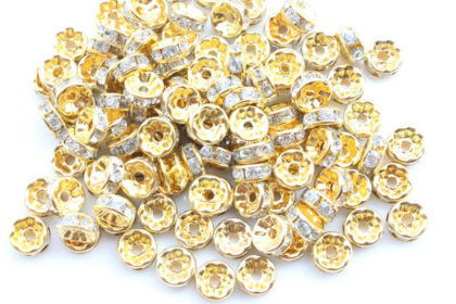 10 x Plated Gold Spacer 8mm, grau