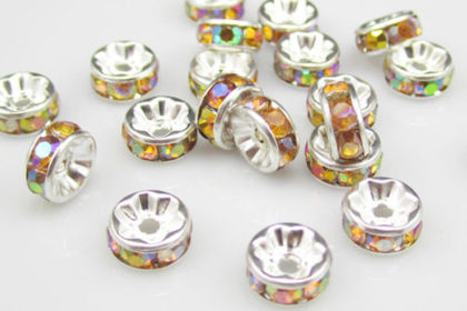 10 x Plated Silber Spacer 8mm, gelb