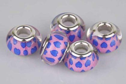 Lampwork Beads Murano, 14 x 10 mm, pink-blau mit Herzen