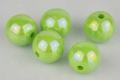 5 x Perlen mit Drahtloch 12 mm, grün