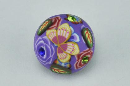 Charm Button für Armbänder und Ketten, von Hand bemalt, Schmetterling