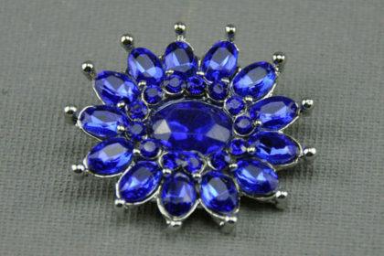 Charm Button für Armbänder und Ketten, mit blauen Kristallen