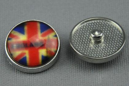 Charm Button für Armbänder und Ketten, mit England Wappen