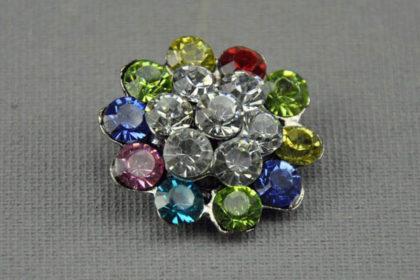 Charm Button für Armbänder und Ketten, mit farbigen Kristallen