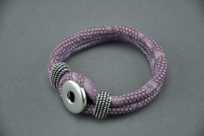 Armband für Charm Button, violett snake