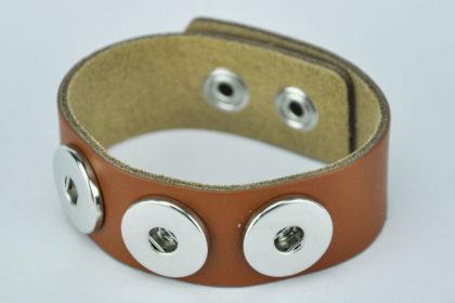 PU-Leder Armband 23,5 cm mit 3 Buttons für Charm, braun