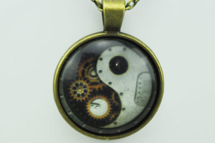 Vintage Bronze Kette mit Glas-Chain JING-JANG GETRIEBE