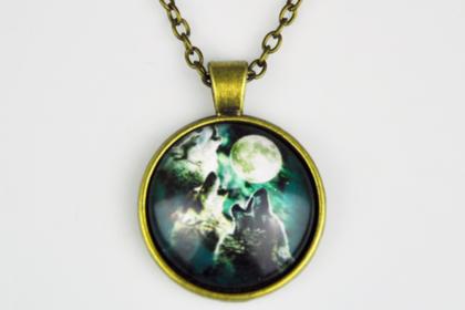 Vintage Tibet-Silber Kette mit Glas-Chain Wölfe Mond