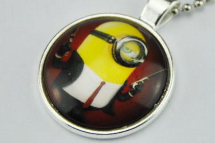 Vintage Tibet-Silber Kette mit Glas-Chain Minions