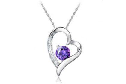 925 Sterling Silber Kette 46 cm mit Herz-Anhänger und violettem Kristall