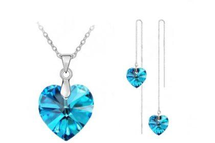 Schmuck-Set: 925 Sterling Silber Halskette mit Herz-Anhänger hellblau sowie Ohrringe