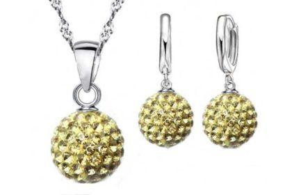 Schmuck-Set: 925 Sterling Silber Halskette mit Kugel-Anhänger gelb sowie Ohrringe